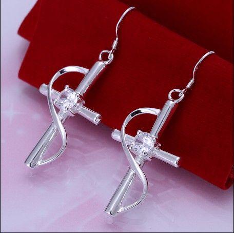 Hot Nieuwe 925 Silver Inlaid Zirkoon Cross Drop Earrings Mode-sieraden Gratis verzending 10pair / lot