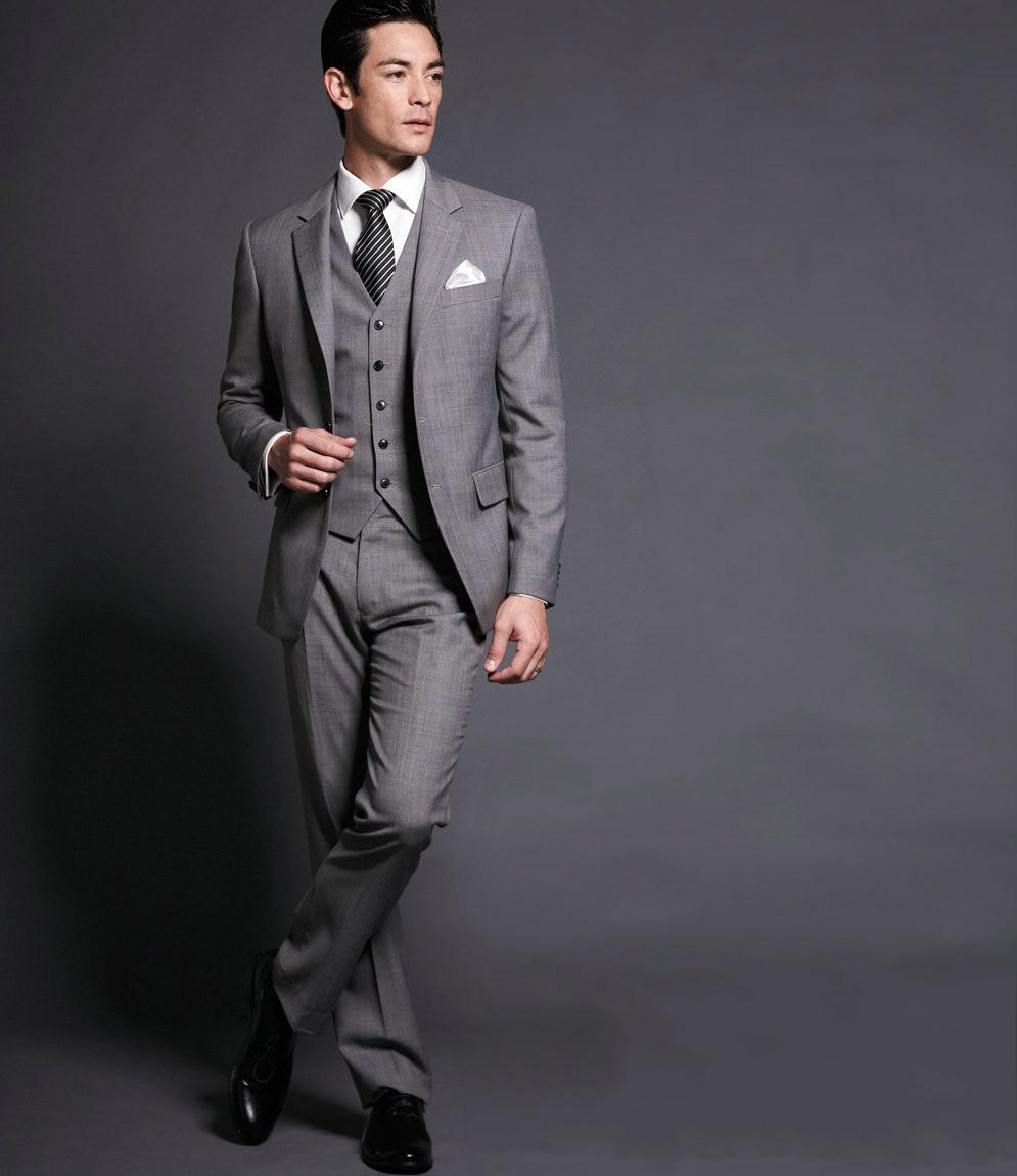 Custom Made Slim Fit Gray Groom Tuxedos Notch Lapel Best Man Suit ...
