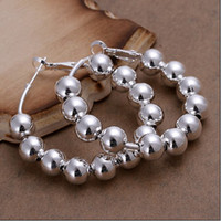 Wholesale Earring Prayer - Hot new high quality 925 Silver 8MM prayer beads hoop earrings fashion jewelry free shipping 10pair