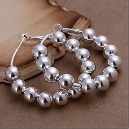 Wholesale Bead Hoop Earring - Hot new high quality 925 Silver 8MM prayer beads hoop earrings fashion jewelry free shipping 10pair
