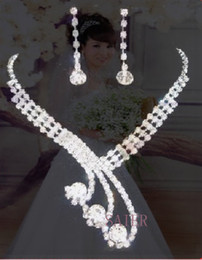 Wholesale Silver Articles Wholesale - 2013 bride luxury Necklaces earrings set Rhinestone Party necklace adorn article S-XL44