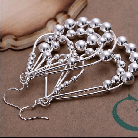 Pendientes de aro con cuentas de plata populares de alta calidad más populares de la venta 10pcs / lot de la joyería de las señoras de la manera