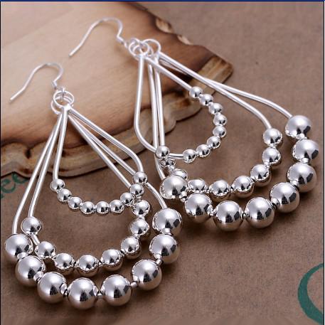 Best-verkopende populaire hoge kwaliteit 925 zilveren kralen hoepel oorbellen mode dames sieraden 10 paar / partij