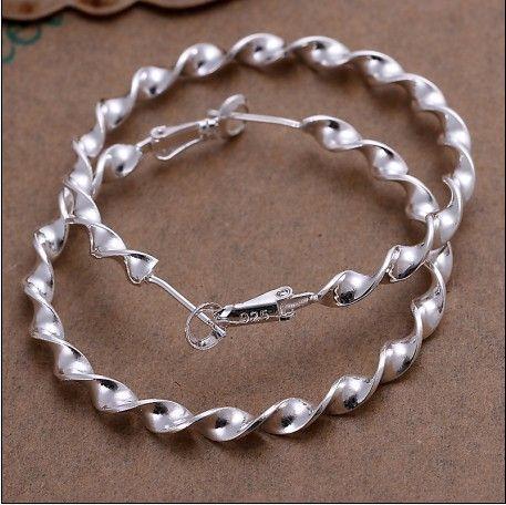 真新しい高品質925銀の段ボールのフープイヤリングファッションジュエリー送料無料10pair /ロット
