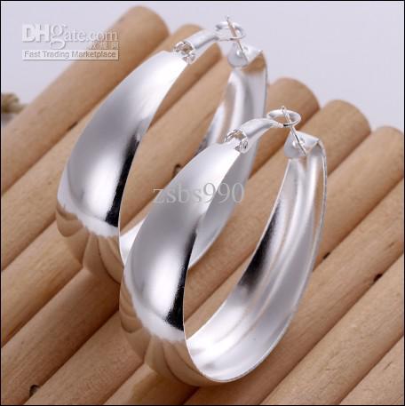 Nova marca de alta qualidade 925 prata em forma de ovo brincos de argola jóias frete grátis 10 par / lote