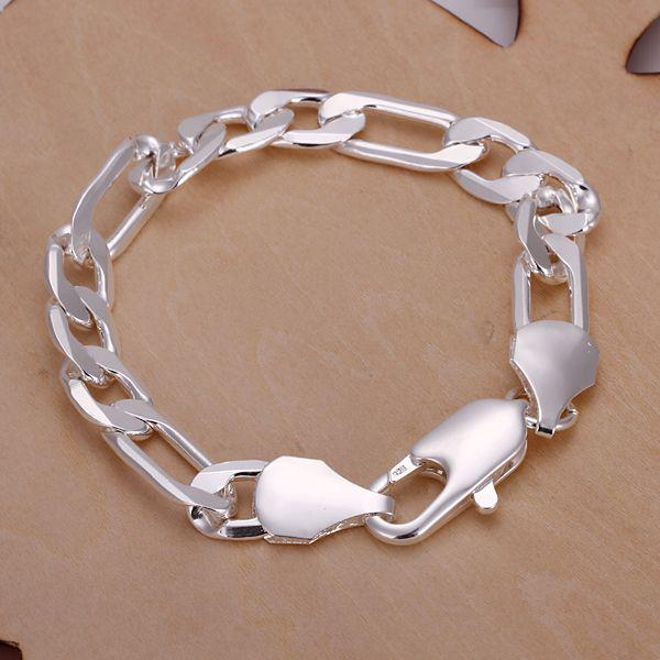 H202 925 Silver Fashion Cool Men's Curb Bracelet ,Nickle Free Antiallergic Jewelry Factory Prices
