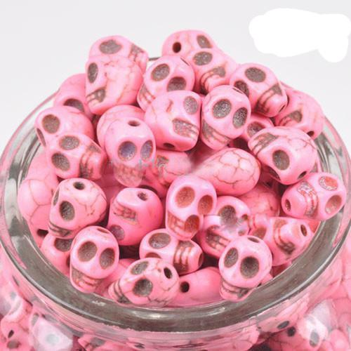 Mix Crânio Turquesa Gemstone Solta Pérolas Encantos Coloridos Bead Fit Diy Artesanato 12mm