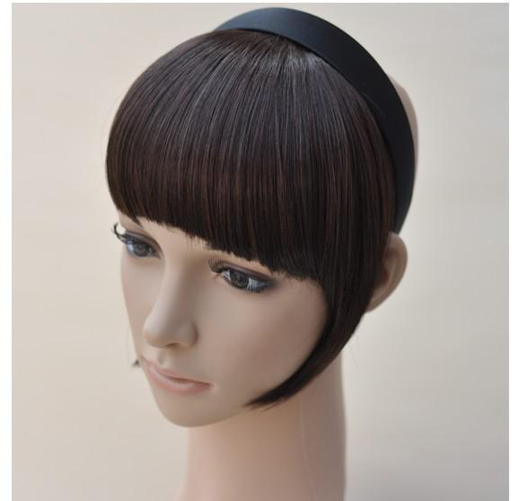 top popular Free shipping-1pcs ladies' hair bangs with band synthetic hair fringe hair pieces 103 2019