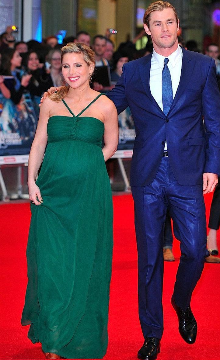 Elsa Pataky Maternity Chiffon Celebrity Dresses A Line