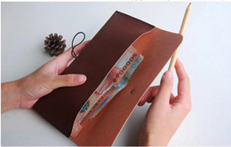 stationery retail Australia - Retail Vintage Elegant Tower PU Leather Pen Bag   Pencil Case Stationery Fashion Wallet