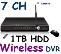 7CH H.264 1T HDD DVR Sistema di sicurezza CCTV WIRELESS DVR 4 videocamere 4 segnale wireless +3 segnale cctv cablato