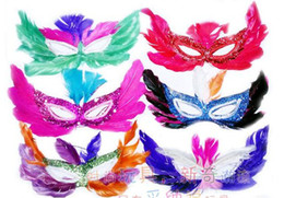 Wholesale Masquerade Mask Kids - Halloween Feather Mask for kids&adult Christmas Masquerade the bar dance party Mask 20pcs