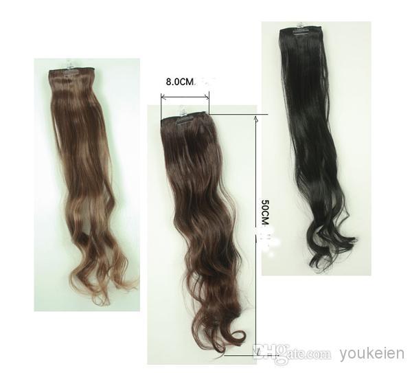 Drop shipping-/ extensions de cheveux synthétiques de haute qualité deux clips en morceaux de cheveux