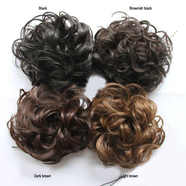 Grandes cachecóis de cabelo encaracolado das senhoras chignons cabelo sintético 4 cores frete grátis transporte da gota