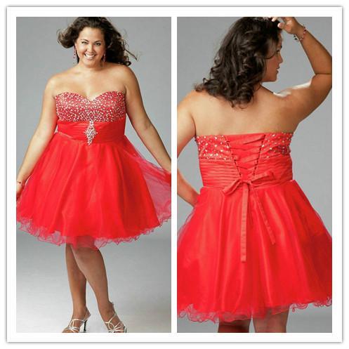 Cheap Plus Size Dresses For Women Ball Gown Sweetheart Mini Fold ...