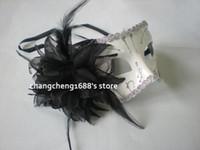 Wholesale Mardi Gras Side Face Masks - White Venetian Half Masks Halloween Costume Masquerade Mardi Gras Mask Black Lily Design on Side Free Shipping