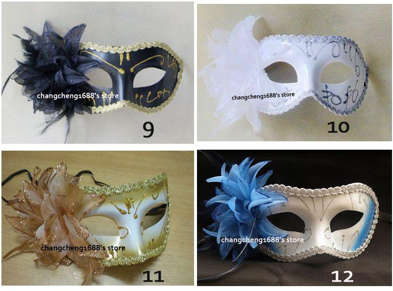 half face mask mardi gras costume mask halloween masquerade mask flower design on side more color - Halloween Costumes With A Masquerade Mask