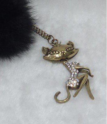 Vintage simulierte diamant sexy cat girl anhänger halskette pullover kette frauen 24 stücke