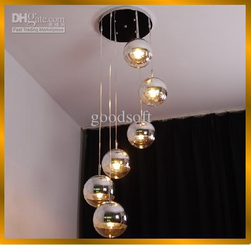 fumat modern semi chrome mirror ball chandelier living room loft pendant lights suspension hanging light office - Pendant Light In Living Room