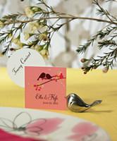 decorações de casamento adoram pássaros venda por atacado-20 pçs / lote titulares de cartão de Nome de aves de amor titular do cartão do lugar com o nome do cartão para decorações da festa de Aniversário e titular do cartão de Casamento