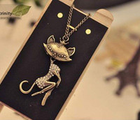 Wholesale Necklace Cat Sexy - Vintage Simulated DIamond Sexy Cat Girl Pendant Necklaces Sweater Chain Women New Arrival xmas gifts 20pcs