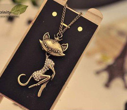 Wholesale New China Sweaters - Vintage Simulated DIamond Sexy Cat Girl Pendant Necklaces Sweater Chain Women New Arrival xmas gifts 20pcs