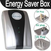 Wholesale 19kw Energy Saver Power - 19KW Power Saving Energy Saver Electricity Save Box Device EU UK US Plug 50pcs lot