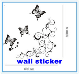 Wholesale Animal House Poster - Wall sticker,Wall paster poster house decorative sticker with Butterfly pattern,1 set=1 vine+3 butterfly,60cm*60cm