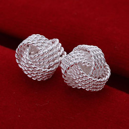 Wholesale Sterling Silver Knot - E013 925 Silver Fashion Pretty Women Knot Earrings , Nickle Free Antiallergic Jewelry 100% Brand New