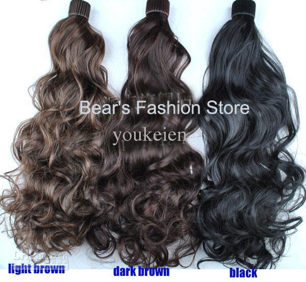 Moda bayan bukle sentetik klip-in ponytails saç uzatma saç parçaları kolay - damla nakliye giymek