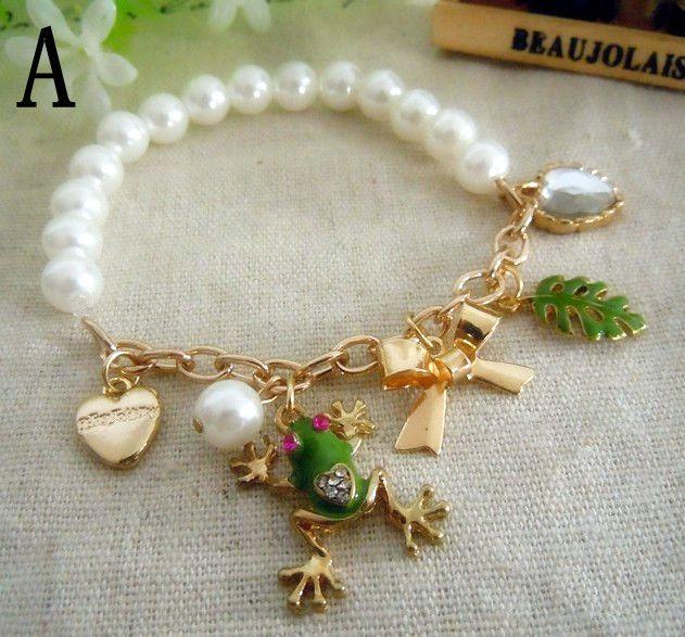 Perle vergoldete Kette Frosch Armbänder kleine hängende Armbänder