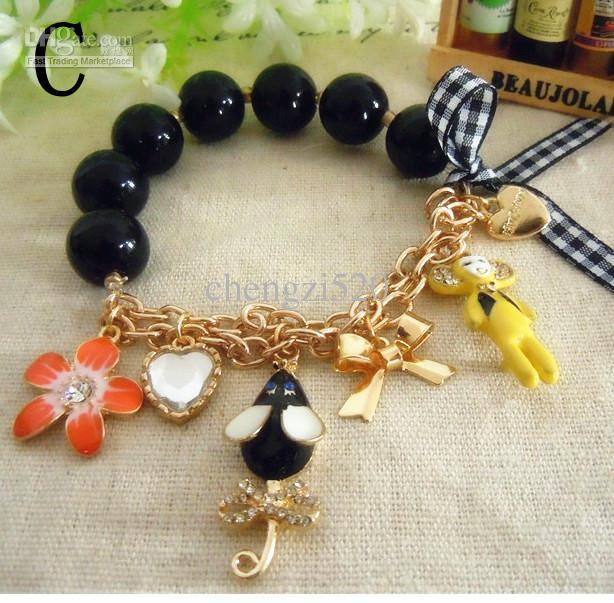 Bracelets en perles de rocaille plaquées or