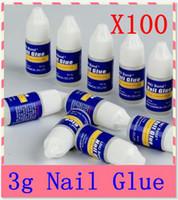 gel livre venda por atacado-Atacado 100x3g cola de unhas de acrílico uv gel falso nail art dicas / byb bond cola / frete grátis