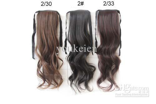 5個のPonytails人間の髪に似た女性のための合成毛の部分4色