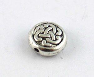 Tibet gümüş metal Kelt düğüm düz boncuk 9.5mm A8934
