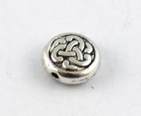 Wholesale Celtic Knot Beads - 120PCS Tibetan silver celtic knot flat beads A8934
