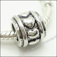 ingrosso branello d'amore tibetano-Fascini d'argento tibetano Cuore AMORE Bead europeo adatto del braccialetto di antiquariato della lega grandi branelli del foro 80pcs / lot