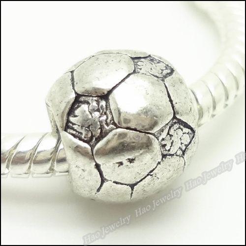 Charms tibétaine d'Europe de football perles Fit Bracelet en alliage antique Argent Big Hole Perles 80pcs / lot