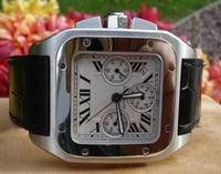 Wholesale Square Watch Date Leather Mens - MENS SAPPHIRE CRYSTAL 100 WATCH CHRONOGRAPH MASSIVE WATCH LEATHER WRISTWATCH