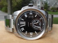 Wholesale Black Sapphire Bracelet - Men's Automatic Calibre Steel Bracelet Black Dial Watch Sapphire Crystal Men Watches W7100015