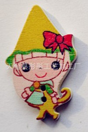 Wholesale Scrapbooking Fairies - 20pc Assorted Magic fairy Painting Wood Buttons Fit Sewing or Scrapbooking