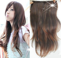 Wholesale light brown wavy hair extensions - 24inch Five Clips In On synthetic hair extensions wavy one piece for full head