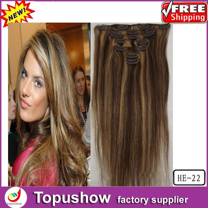 Popular Brazilian Natural Body Wave Clip In Hair Extensions Remy