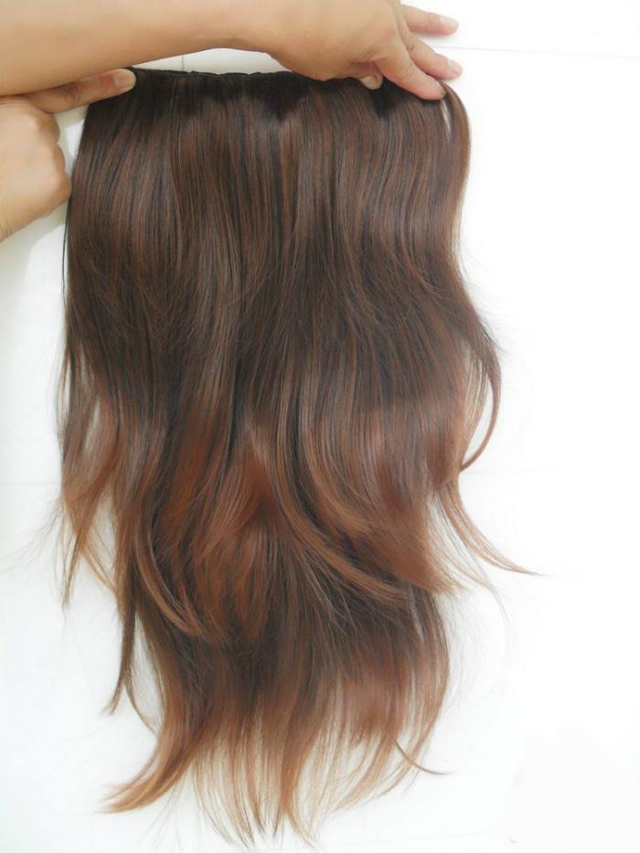 24 tums fem klipp på syntetiska hårförlängningar vågigt en bit för fullt huvud