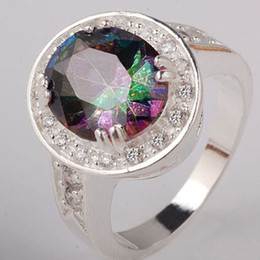 Wholesale Sizing Mystic Topaz Ring - 6 9.25Ct Mystic Topaz Clear Cz Silver Ring Size 6 Yin J0648