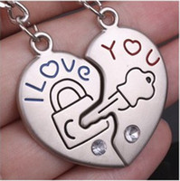 "Wholesale I Lock Love - 50pcs=25PR lot Wholesale ""I Love you"" Lover Couple Keyring Heart Lock Alloy Lover Gift China"