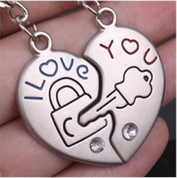 "Wholesale China Love Couples - 50pcs=25PR lot Wholesale ""I Love you"" Lover Couple Keyring Heart Lock Alloy Lover Gift China"