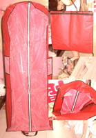 Wholesale Cheap Garment Covers - Cheap High Quality Folding Portable Red Wedding Dresses Cover Bag Dress Garment Bags