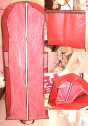 Wholesale Cheap Wedding Dress Garment Bags - Cheap High Quality Folding Portable Red Wedding Dresses Cover Bag Dress Garment Bags