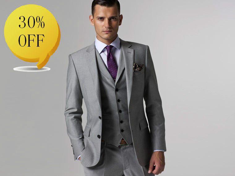 2017 Design Men Suit Custom Made Suit Men Suit Dress Light Grey ...